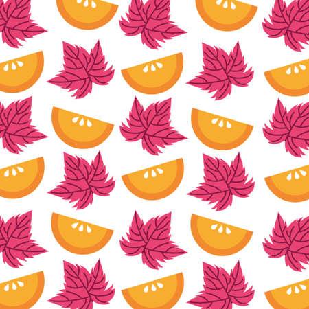 oranges fruits and leafs pattern background vector illustration design
