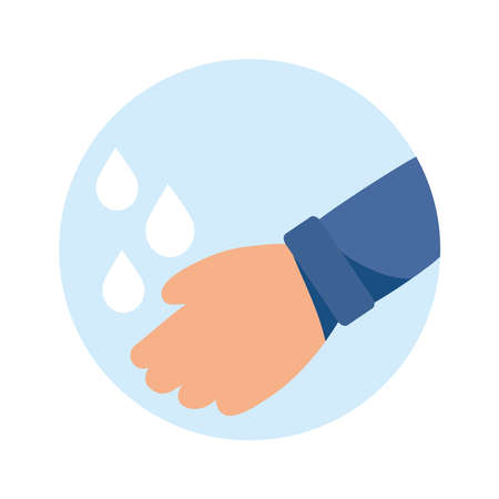 hands washing with water isolated icon vector illustration design Иллюстрация
