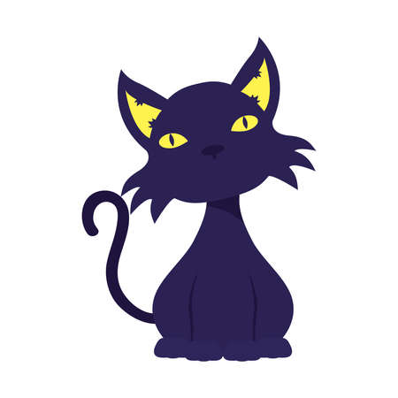 halloween cat black mascot isolated icon vector illustration design