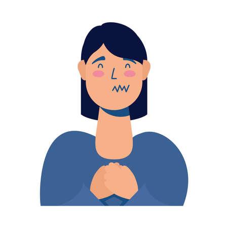 woman sick avatar character vector illustration design
