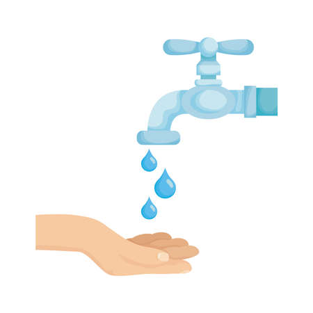 hand with water tap faucet and drops vector illustration design