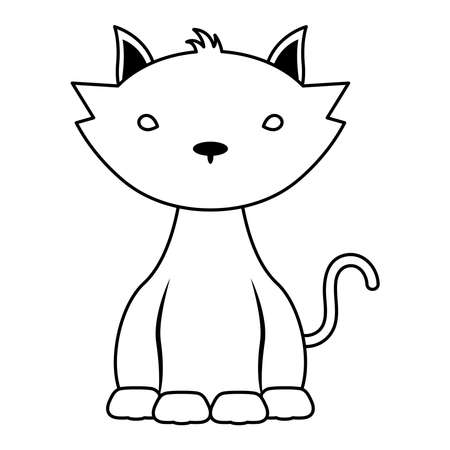 halloween cat mascot line style icon vector illustration design