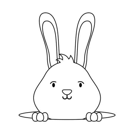 cute easter little rabbit in hole character line style vector illustration design