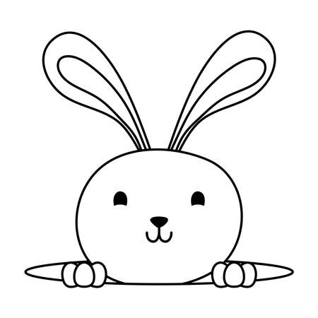 cute easter little rabbit in hole character line style icon vector illustration design Vector Illustratie