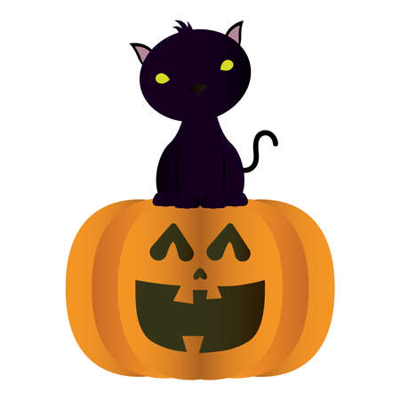 halloween pumpkin face with black cat vector illustration design