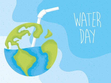 water day poster with world planet earth vector illustration design Stock fotó - 154713084