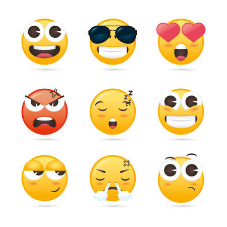 group of emojis faces funny characters vector illustration design Vettoriali