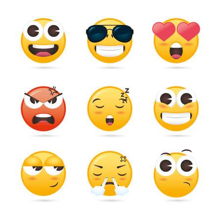 group of emojis faces funny characters vector illustration design Vektoros illusztráció