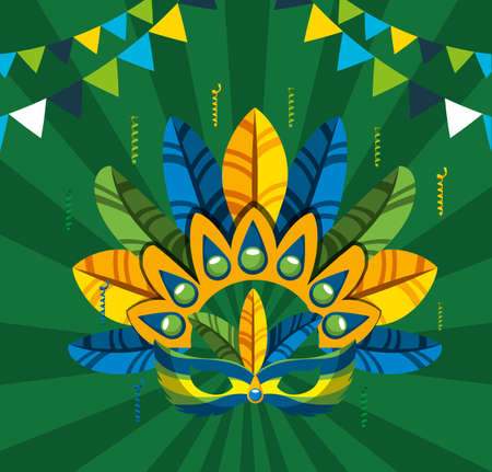 canival of rio brazilian celebration with feathers hat vector illustration design