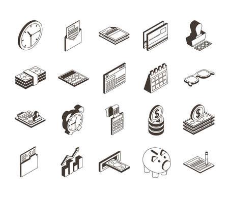 bundle of twenty taxes set collection icons vector illustration design