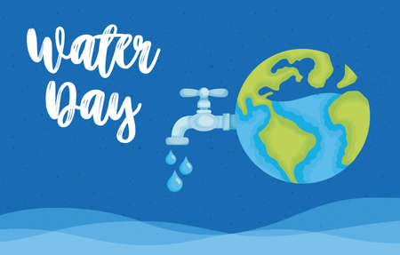water day poster with world planet and tap vector illustration design Stock fotó - 154717426