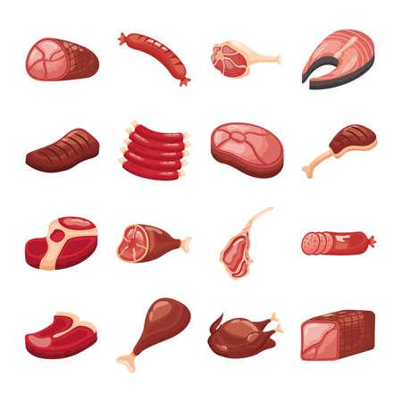 bundle of meat cuts set icons vector illustration design
