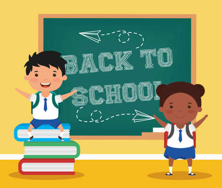 back to school card with interracial students vector illustration design