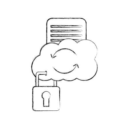 cloud computing with document and padlock vector illustration design Illusztráció