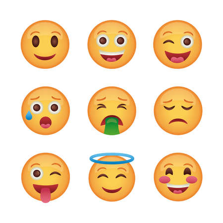 bundle of emojis faces set icons vector illustration design