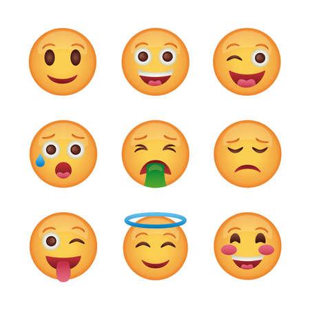 bundle of emojis faces set icons vector illustration design Vetores