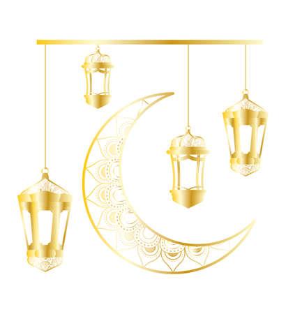 golden moon and lanterns hanging ramadan kareem vector illustration design