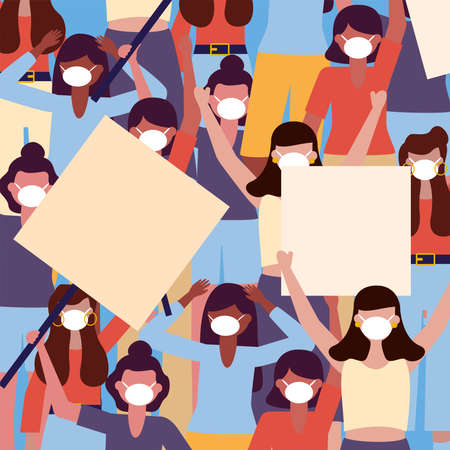 women with medical masks and banners boards background design, Manifestation protest and demonstration theme Vector illustration