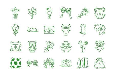 bundle of brazil set icons vector illustration design