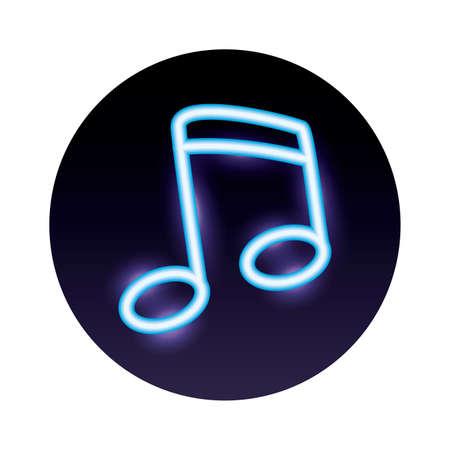 music note neon light icon vector illustration design