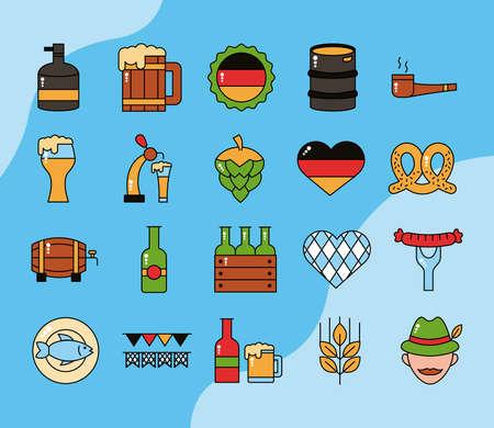 bundle of twenty oktoberfest set icons vector illustration design