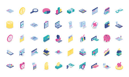 bundle of fifty taxes set icons vector illustration design