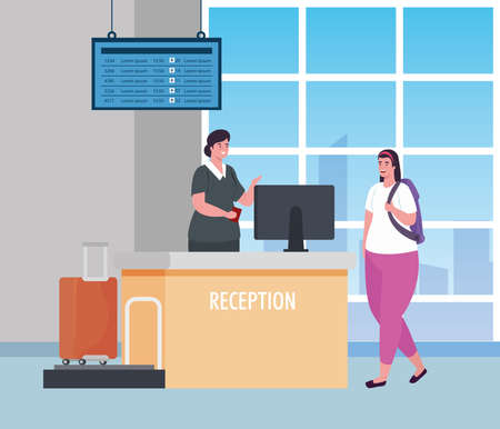 stewardess and woman in reception of the airport terminal vector illustration design