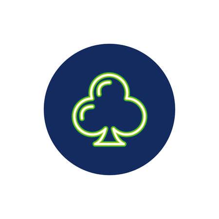 clover leaf neon light icon vector illustration design