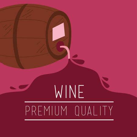 wine premium quality poster with barrel vector illustration design