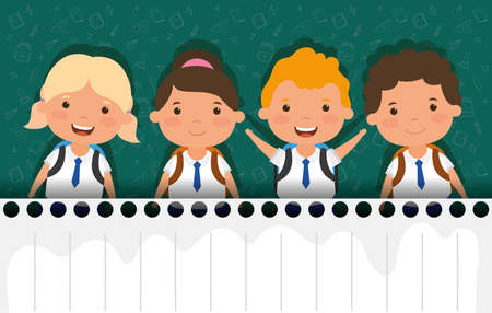 back to school card with students group vector illustration design