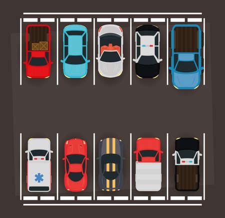 group of cars in parking zone scene vector illustration design