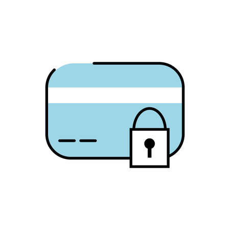 credit card plastic money with padlock vector illustration design