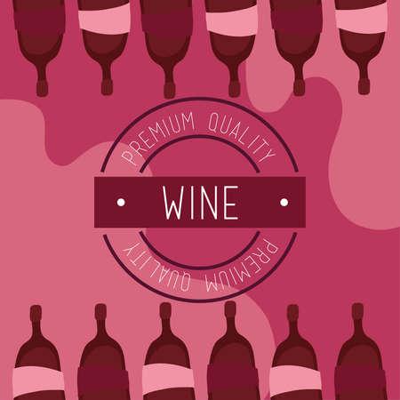 wine premium quality poster with bottles vector illustration design