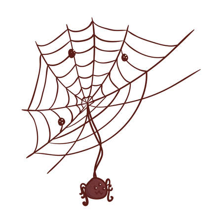 halloween, cute spider hanging of cobweb in white background vector illustration design