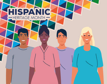 national hispanic heritage month and multiethnic group of people together vector illustration design