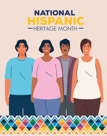 national hispanic heritage month with multiethnic group of people vector illustration design 向量圖像