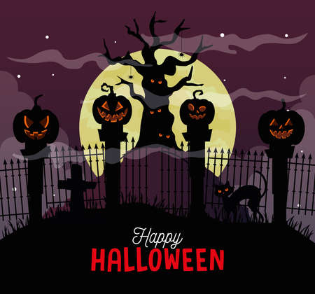 happy halloween banner with haunted tree and pumpkins in dark night vector illustration design