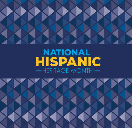 background, hispanic and latino americans culture, national hispanic heritage month in september and october, color blue vector illustration design