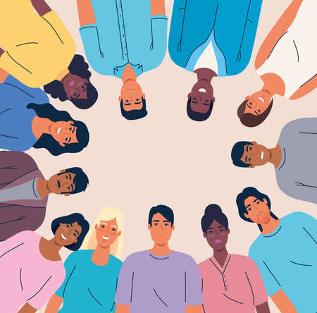 multiethnic united people together, diversity and multiculturalism concept vector illustration design