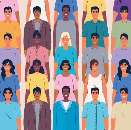 crowd people together multi ethnic, diversity and multiculturalism concept vector illustration design