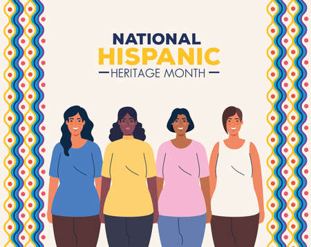 national hispanic heritage month and multiethnic group of women together vector illustration design