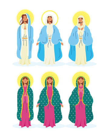 assumption of beautiful mary virgins group vector illustration design