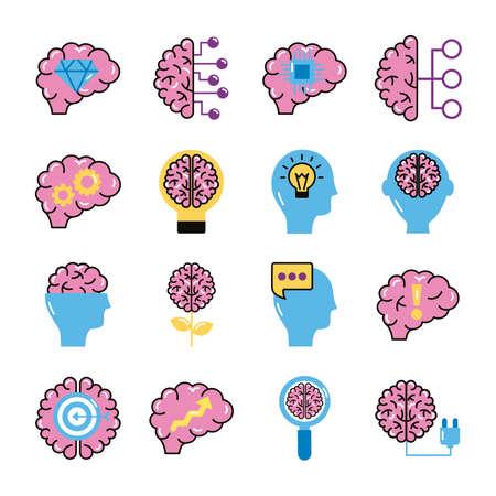 bundle of brains organs set icons vector illustration design