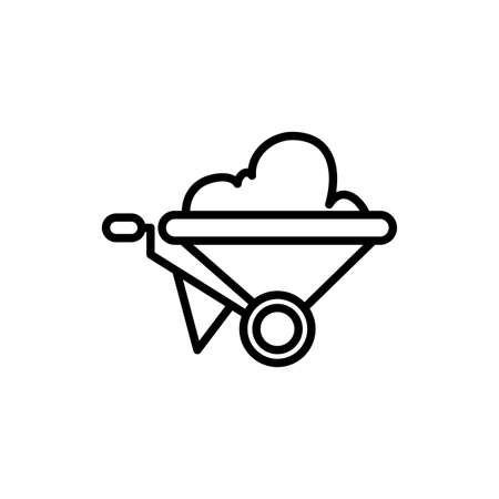 wheelbarrow tool construction isolated line style vector illustration design