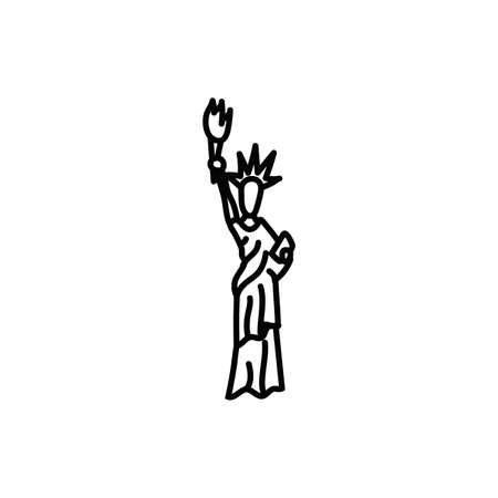 new york liberty statue line style icon vector illustration design