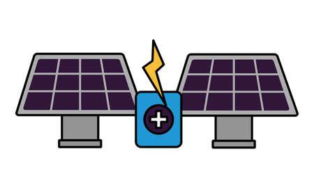 solar panels energy battery charge vector illustration Illustration