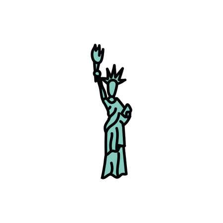 new york liberty statue fill style icon vector illustration design