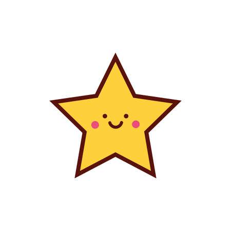 cute star kawaii comic character icon vector illustration design