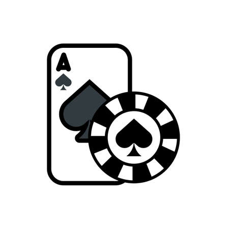 casino poker card and chip with spade isolated icon vector illustration design