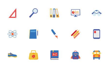 bundle of school set icons vector illustration design